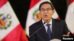 Allocution télévisée du président Martin Vizcarra à la nation péruvienne, Lima, Pérou, le 30 septembre 2019.
