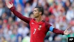 Cristiano Ronaldo lors du match contre le Mexique lors de la Coupe des confédération, en Russie, le 18 juin 2017.