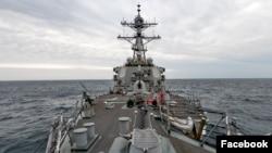 美國海軍導彈驅逐艦貝瑞號2020年4月23日航經台灣海峽(美國海軍第七艦隊臉書)