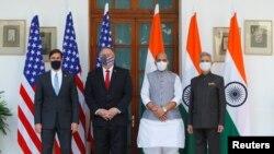 Secretário de Defesa, Mark Esper, e Secretário de Estado, Mike Pompeo, com seus homólogos indianos
