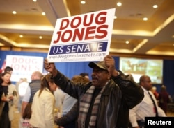 A supporter holds a sign during Democratic U.S. Senate candidate Doug Jones' election night party in Birmingham, Alabama, Dec. 12, 2017.