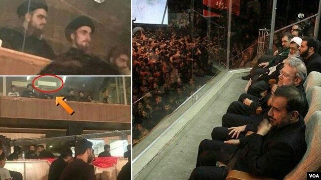 در عکس های منتشر شده علی لاریجانی و مقامات در لژ مخصوص نشسته اند و نتیجه آیت الله خمینی در زیر کولر در حال تماشای عزاداری است.