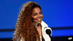 FILE - In this June 28, 2015, file photo, Janet Jackson accepts the ultimate icon: music dance visual award at the BET Awards in Los Angeles. The superstar and her husband Wissam al-Mana welcomed their son, Eissa al-Mana, on Jan. 3, 2017.