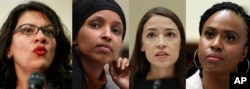 In this combination image from left; Rep. Rashida Tlaib, D-Mich., Rep. Ilhan Omar, D-Minn., Rep. Alexandria Ocasio-Cortez, D-NY., and Rep. Ayanna Pressley, D-Mass.