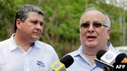 Archivo - José Pallais, miembro de la opositora Alianza Cívica por la Justicia y la Democracia (derecha) asegura que seguirán exigiendo adelanto de elecciones. Foto del 6 de mayo de 2019, en Managua, Nicaragua.