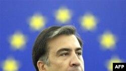Михаил Саакашвили выступает в Страсбурге на сессии Европарламента.