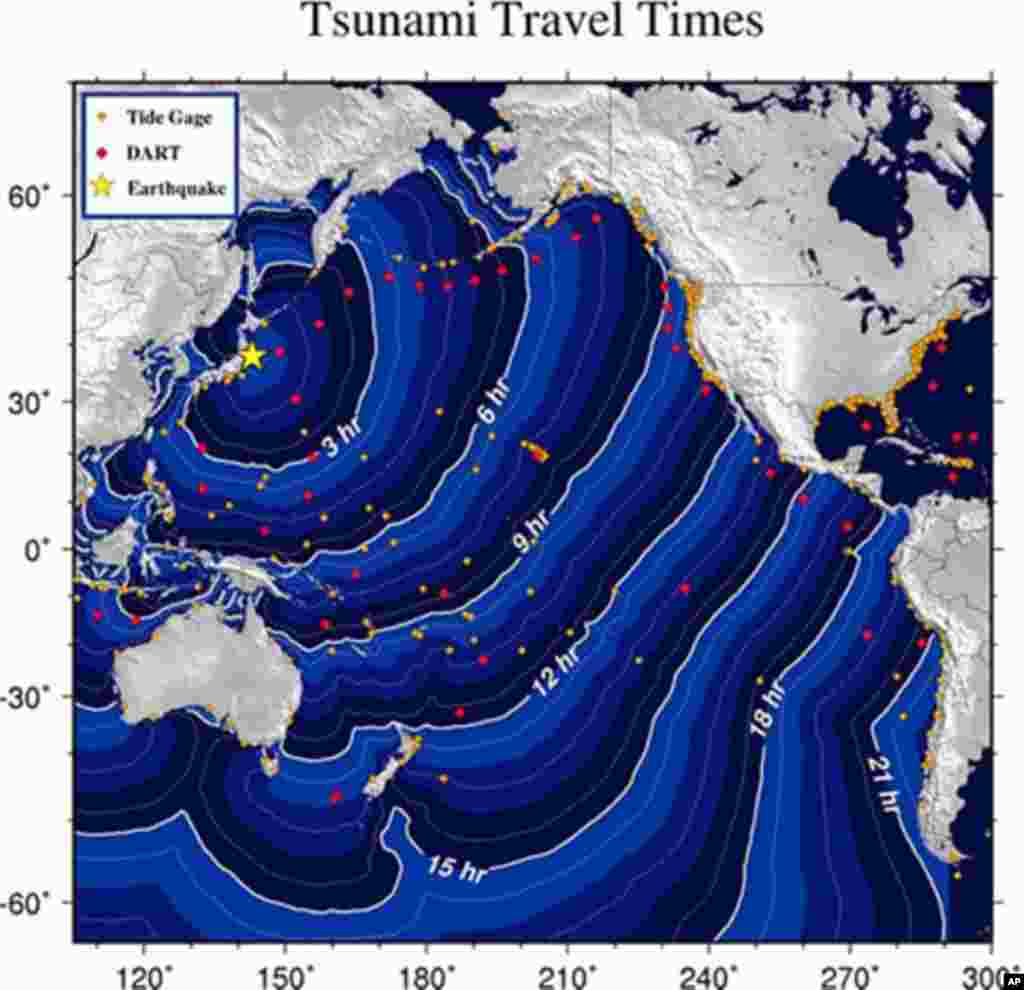 Graphic provided by the National Oceanic and Atmospheric Administration (NOAA) shows estimated tsunami travel times following a massive 8.9-magnitude earthquake hit Japan on March 11, 2011 - (AFP)