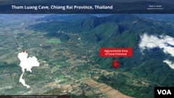 Tham Luang Cave, Chiang Rai Province, Thailand. Location where 12 young soccer players and their coach are trapped inside a complex cave system.