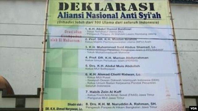 Deklarasi anti-Syiah dari perwakilan ulama seluruh Indonesia dan MUI di Bandung. (VOA/R. Teja Wulan)