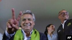 Lenin Moreno, candidato del partido oficialista ecuatoriano Alianza País, y su compañero de boleta Jorge Glas, declarados ganadores de las elecciones presidenciales del 2 de abril.