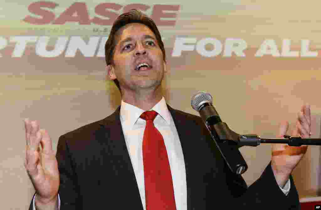 Republican Senator-elect Ben Sasse addresses supporters in Lincoln, Neb., Nov. 4, 2014, after winning the vote for the Nebraska senate seat of retiring Sen. Mike Johanns, R-Neb. Sasse was running against Democrat Dave Domina.