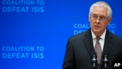 FILE - Secretary of State Rex Tillerson speaks at the Meeting of the Ministers of the Global Coalition on the Defeat of ISIS, March 22, 2017, at the State Department in Washington.