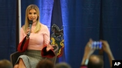 White House senior adviser Ivanka Trump talks during a town hall meeting on Tax Reform at the Northampton Township Senior Center in Richboro, Pa., Oct. 23, 2017.