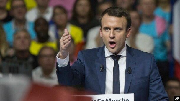 Ứng cử viên tổng thống Pháp Emmanuel Macron diễn thuyết trong một cuộc tập hợp tại thành phố Lyon, Pháp, ngày 4 tháng 2, 2017.