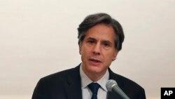 블링큰 국무부 부장관이 13일 도쿄에서 미국의 동북아 경제 정책에 대해 연설하고 있다