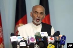 Afghan presidential candidate Ashraf Ghani addresses a news conference in Kabul, Afghanistan, July 8, 2014.
