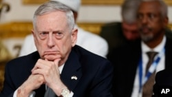 U.S. Secretary of Defense James Mattis listens during a National Security session at the 2017 Somalia Conference in London, May 11, 2017.