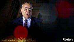 2020年2月4日,聯合國利比亞特使薩拉米在聯合國斡旋的利比亞交戰雙方在瑞士日內瓦舉行會談前舉行記者會。