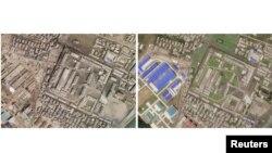 지난 4월 1일(왼쪽)과 지난 6월 20일 촬영된 북한 함흥 지역의 미사일 제조공장 모습 위성사진. 최근의 위성사진에서 확장 건설된 것으로 보이는 미사일 제조공장 모습이 포착됐다.