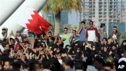 Demonstrators wave Bahraini flags, cheer, and throw confetti, under the Pearl Monument on a main square in Manama, Bahrain, February 15, 2011