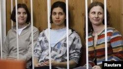 俄羅斯PUSSY RIOT女子朋克樂隊的三名成員