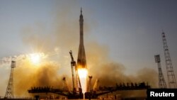 The Soyuz MS spacecraft carrying the crew of Kate Rubins of the U.S., Anatoly Ivanishin of Russia and Takuya Onishi of Japan blasts off to the International Space Station (ISS) from the launchpad at the Baikonur cosmodrome, Kazakhstan, July 7, 2016. REUT