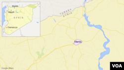 敘利亞曼比季鎮地理位置圖。