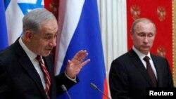 Thủ tướng Israel Benjamin Netanyahu và Tổng thống Nga Vladimir Putin tại cuộc họp báo chung ở Moscow, 20/11/13