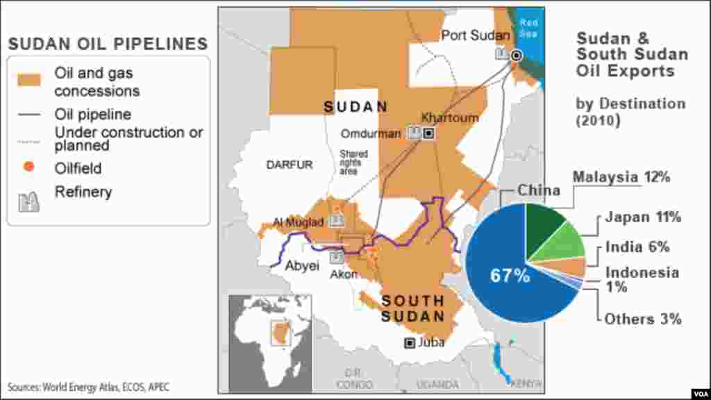 """""""The resumption of oil production and transportation through Sudanese pipelines is good news for now. However, South Sudan should endeavor to construct an alternative pipeline for the future."""" James Duasanga in Yambio. A map of oil pipelines in Sudan. Landlocked South Sudan relies on pipelines in Sudan to transport the crude it produces to sea ports for export."""