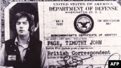 Thẻ phóng viên của nhà báo Tim Page trong thời kỳ chiến tranh Việt Nam