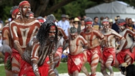 Aboriginal men perform part of the Woggan-ma-gule ceremony with their contemporary interpretation of a creation story from the Yuin people during Australia Day celebrations in Sydney, Australia, January 26, 2011.