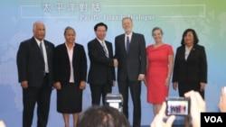 """美国在台协会和台湾外交部在台北共同举办首次""""太平洋对话""""论坛。(2019年10月7日,美国之音齐勇明拍摄)"""