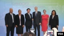 """美國在台協會和台灣外交部在台北共同舉辦首次""""太平洋對話""""論壇。 (2019年10月7日,美國之音齊勇明拍攝)"""
