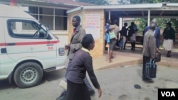 Patients milling around at Gwanda Hospital following a crippling nurses' strike.