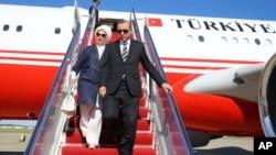 土耳其总统埃尔多安与妻子到达美国首都华盛顿(2017年5月15日)