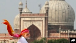 FILE - Indian Prime Minister Narendra Modi addresses the nation from the ramparts of the historical Red Fort on the Independence Day in New Delhi, India.