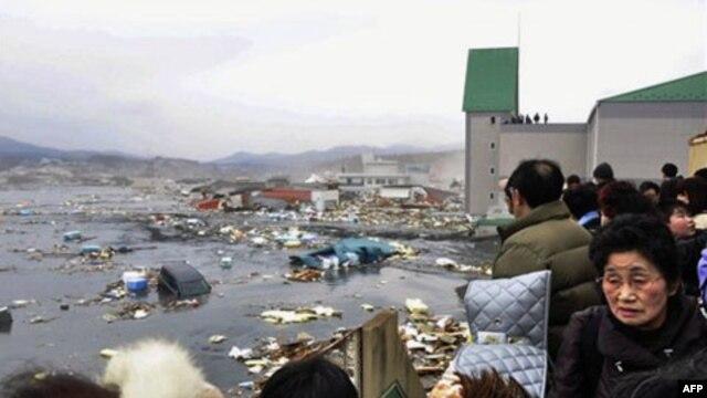 Trận động đất có cường độ 8.9 đã làm bùng ra một trận sóng thần cao 10 mét cuốn trôi tàu bè, nhà cửa, xe cộ dọc theo bờ biển trong vùng duyên hải đông bắc nước Nhật, ngày 11/3/2011