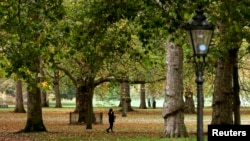 FILE - People walk Green Park during autumn, central London.