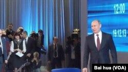 普京去年年末在莫斯科召開新聞記者會。 (資料圖片)