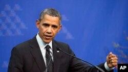 지난 2014년 3월 바락 오바마 미국 대통령이네덜란드 헤이그에서 열린 핵안보정상회의에서 폐막 기자회견을 하고 있다. (자료사진)