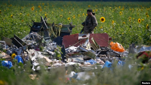 An armed pro-Russian separatist stands guard as OSCE and members of a Malaysian air crash investigation team inspect the crash site of Malaysia Airlines Flight MH17, near the village of Rozsypne, Donetsk region on July 22, 2014.
