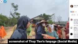 Ca sĩ Thủy Tiên trao quà cứu trợ tận tay nạn nhân lũ lụt, 15 tháng 10.