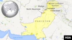 Peta wilayah Khyber dan Waziristan Utara, Pakistan.