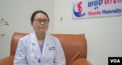 Dr. Ty Sovannaroth, who has been working in the field of obstetrics for about 15 years, talks to VOA Khmer at Mearda Maternity on pregnancy during COVID-19, in Phnom Penh, Cambodia on April 02, 2020. (Khan Sokummono/ VOA Khmer)