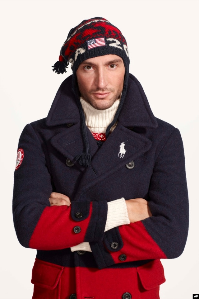This undated product image provided by Ralph Lauren shows U.S. Olympic skater Evan Lysacek wearing fashion by designer Ralph Lauren for the 2014 Winter Olympics.