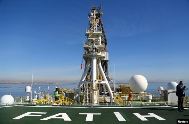 FILE - Flight deck of Turkish drilling vessel Fatih is pictured off the Mediterranean resort city of Antalya, Turkey, Oct. 30, 2018.