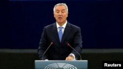 Montenegro's President Milo Djukanovic addresses the European Parliament in Strasbourg, France, October 2, 2018. REUTERS/Vincent Kessler