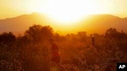 Un hombre corre por el desierto al amanecer en Phoenix, Arizona. Junio 16, de 2017.