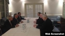 Minsk qrupunun həmsədrlərinin Edvard Nlmandyanla görüşü (Foto Ceyms Uorlikin Twitter səhifəsindən götürülüb)