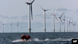 (FILE) Offshore windmills in the North Sea near the village of Blavandshuk near Esbjerg, Denmark.